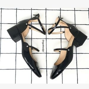 Zara Faux Patent Leather Strappy Chunky Heels